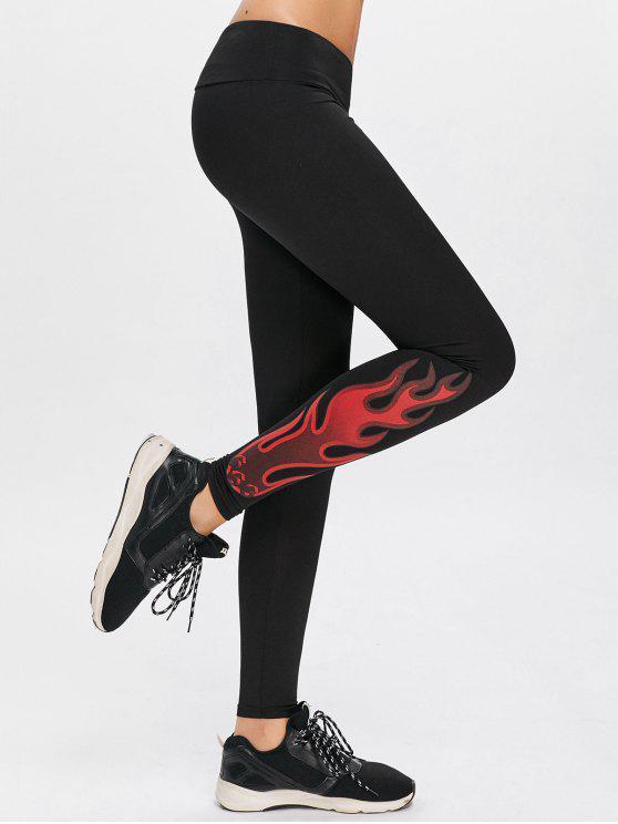 Leggings de sport de yoga d'impression de flamme - Noir S