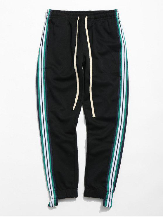 buy Striped Trim Sport Jogger Pants - BLACK 2XL
