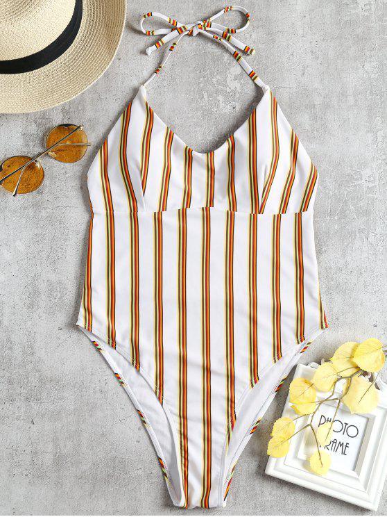 women's Halter Striped High Cut Swimsuit - WHITE S