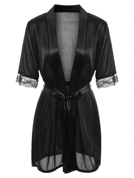 latest Satin-trim Robe - BLACK M