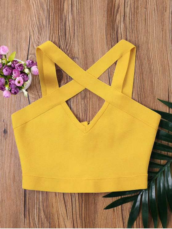 lady Cutout Cropped Tank Top - BEE YELLOW ONE SIZE