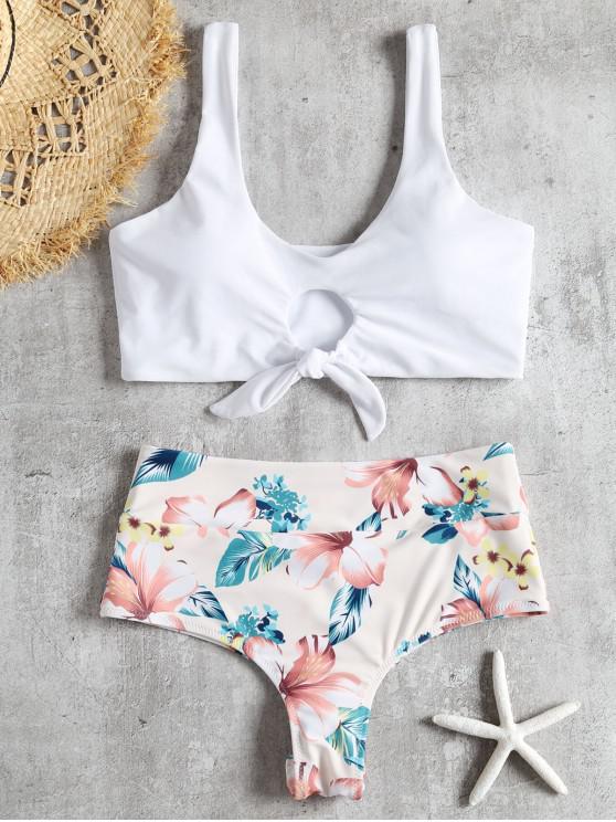 lady Knotted Floral Scrunch Butt Bikini Set - WHITE L