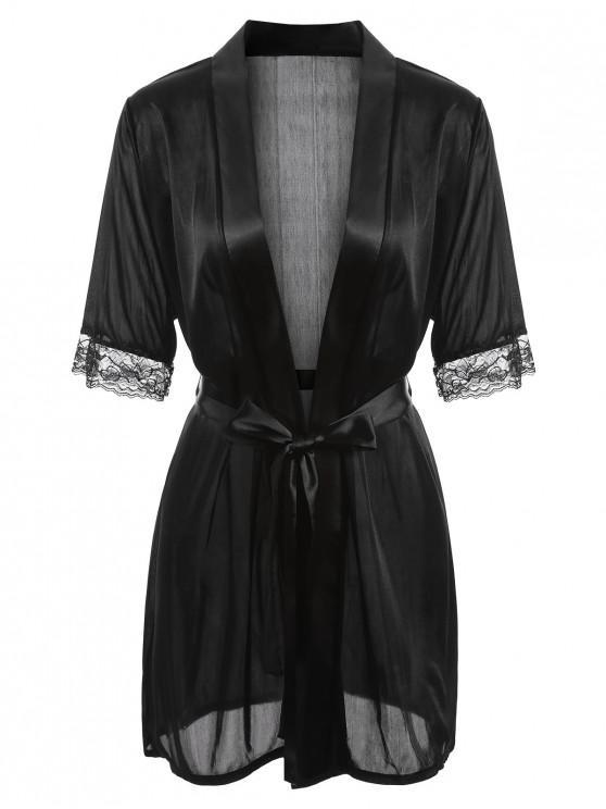 trendy Satin-trim Robe - BLACK L