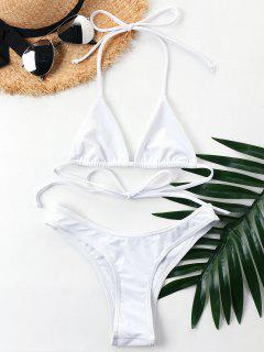 Halter Cheeky Bikini Set - White L