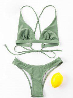 Tie Back High Cut Bikini Set - Army Green L
