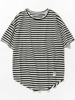 Short Sleeves Stripe Tee - Black Xl