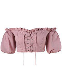 Lace-up Off Shoulder Crop Blouse - Khaki Rose M