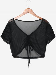 Front Ruched Sheer Crop Top - Black L