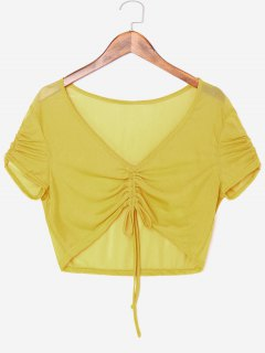 Front Ruched Sheer Crop Top - Harvest Yellow L
