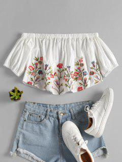 Embroidered Off Shoulder Cropped Top - White M