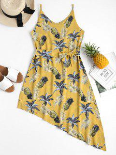 Pineapple Palm Asymmetrical Summer Dress - Yellow M