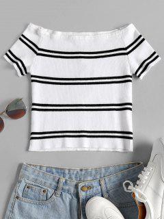 Épaule Off Stripes Top - Blanc S