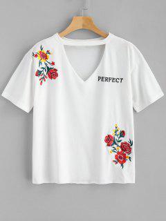 Gargantilla Bordada Camiseta - Blanco Xl