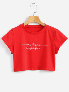 Letter Crop Tee - Love Red S