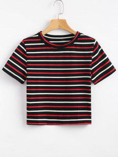 Striped Cropped Tee - Black M