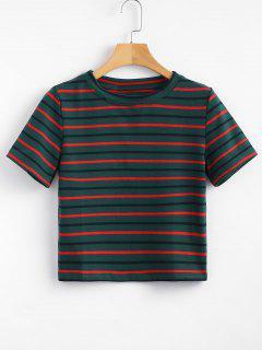 Camiseta Cortada A Rayas - Mar Verde Mediana M