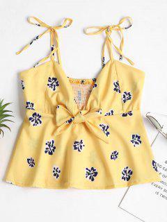 Tie Strap Peplum Camiseta Sin Mangas - Amarillo Brillante M