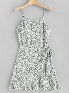 Leaves Overlap Slip Dress - White M