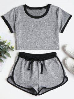 Contrasting Binding Crop Top Shorts Tracksuit - Gray M