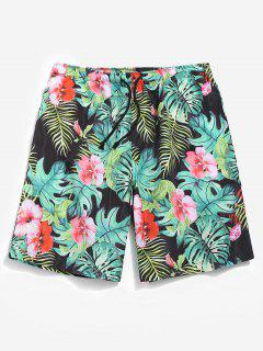Casual Jungle Flower Shorts - Light Sea Green S