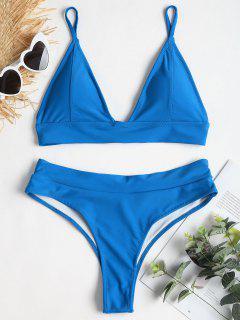 Lace-up Back High Leg Bikini - Blue Ribbon S