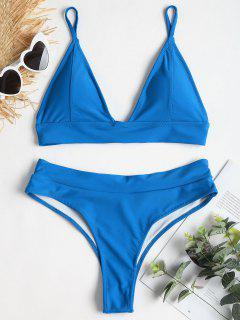 Lace-up Back High Leg Bikini - Blue Ribbon M