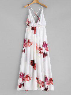 Criss Cross Slit Maxi Dress - White S