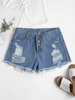Ripped High Waisted Denim Cutoff Shorts - Denim Blue L