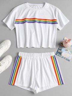 Striped Patched Shorts Set - White S