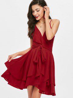 Tie Front Tiered Surplice Dress - Red L