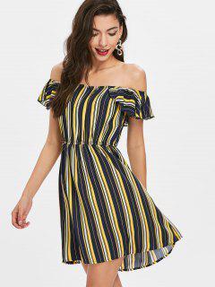Schulterfreies Rüschen Streifen Kleid - Multi S