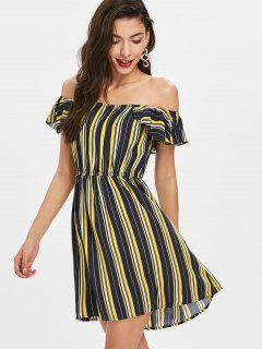 Flounced Off Shoulder Striped Dress - Multi L