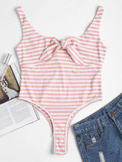 Striped Bunny Tie Ribbed Thong Bodysuit - Light Pink L
