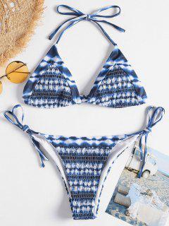 Halter Tie Dye Smocked Bikini - Dark Slate Blue L