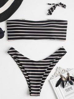 Gestreifter Bandeau Bikini Bademode - Schwarz L