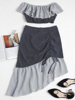 Striped Off Shoulder Top Midi Skirt Set - Multi S