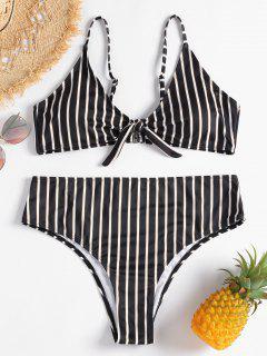 Plus Size Knotted Stripe Bikini - Black L