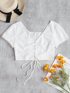 Puff Sleeve Lace Up Broderie Crop Top - White M