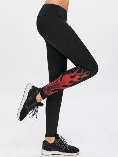 Flame Print Yoga Sports Leggings - Black M