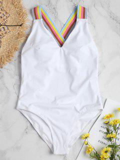 Criss Cross Rainbow Strap Swimsuit - White L