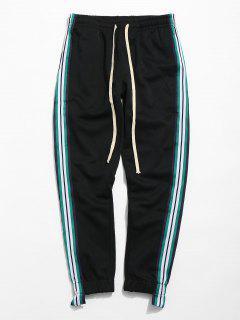 Striped Trim Sport Jogger Pants - Black M