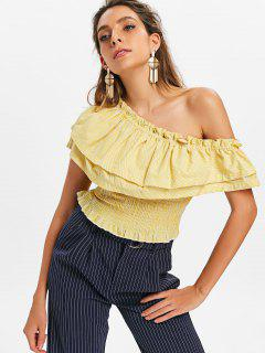 Striped Flounce Smocked Top - Bright Yellow Xl