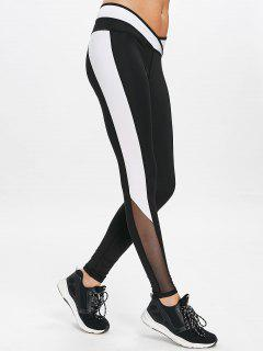 Mesh Panel Sports Workout Leggings - Black S