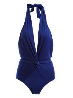 Twist Halter Bodysuit - Cobalt Blue L