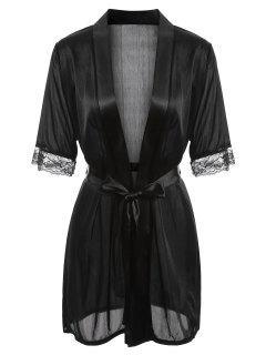 Robe à Ourlet En Satin - Noir M
