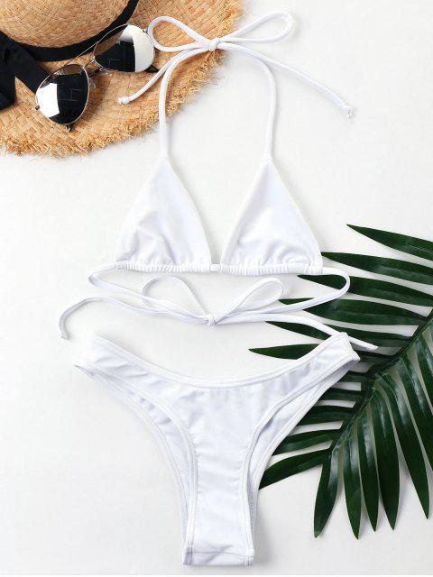 chic Halter Cheeky Bikini Set - WHITE XL Mobile