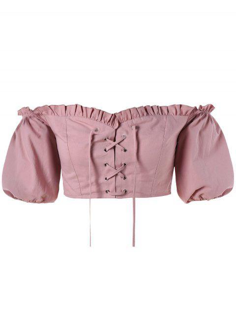 Schnürung Schulterfreie Crop Bluse - Khaki Rose XL Mobile