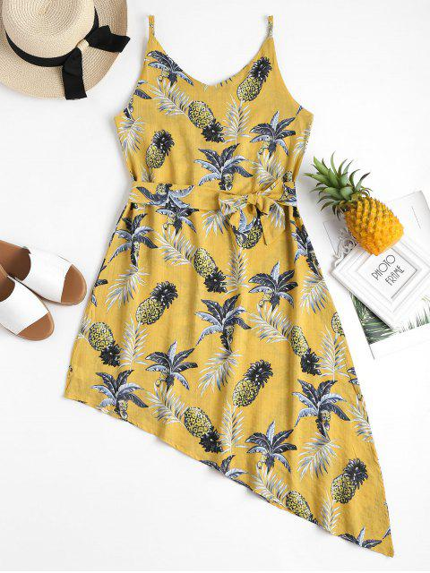 online Pineapple Palm Asymmetrical Summer Dress - YELLOW S Mobile