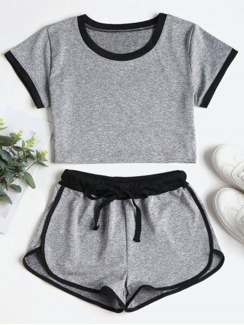 new Contrasting Binding Crop Top Shorts Tracksuit - GRAY L Mobile