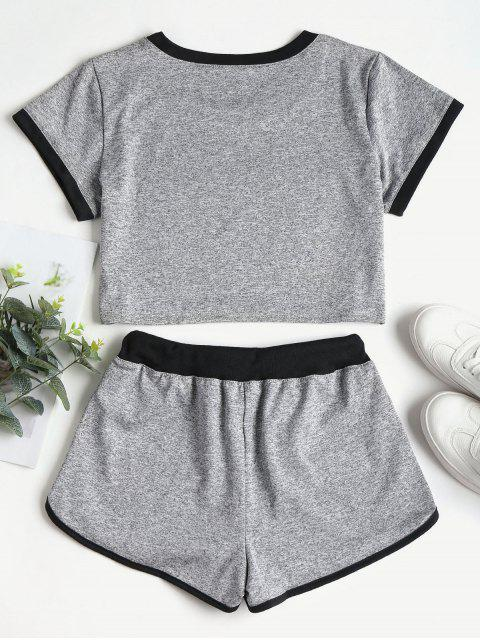 outfit Contrasting Binding Crop Top Shorts Tracksuit - GRAY S Mobile